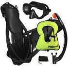 PROMATE Snorkeling Mask Dry Snorkel Fins Gear Set With Snorkel Vest Jacket