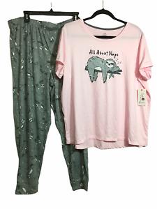 "NWT Women's Sloth Pajamas ""All About Naps"" Pink/Gray Jogger Sleep Set Size XL"