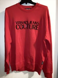 Authentic NWT Versace Couture Red Medium Sweatshirt Size M Cotton