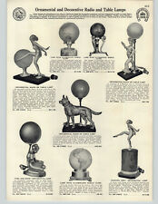 1932 PAPER AD Decorative Dancing Girl Art Deco German Shepard Dog Radio Lamp
