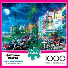 BUFFALO GAMES CARTOON WORLD PUZZLE SOUTH BEACH MOONLIGHT A. CHEN 1000 PCS #11526