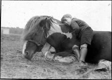 Old Photo. UK. Circus - Boy & Horse Taking A Rest