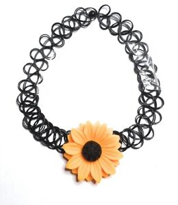 Black Flower Charm Tattoo Choker Elastic Vintage Stretch Charm Necklace Henna