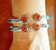 AMBER Gemstone 2 stones 925 STERLING SILVER 1 BRACELET SLIM CUFF Bangle 7-8.5 ""