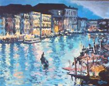 "Original Painting ""Venice: Night Time"", Acrylic on Canvas, 14""x18"", C. Pecharka"