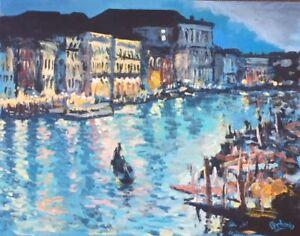 "Original Painting ""Venice Evening"", Acrylic on Canvas, 14""x18"", by C. Pecharka"