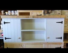 Large Solid Pine Rusic Kitchen Wall Unit Cupboard Cabinet Dresser Shelving