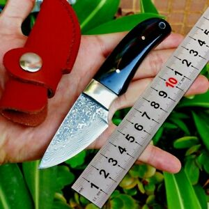 Mini Drop Point Knife Fixed Blade Hunting Combat Tactical Damascus Steel Premium