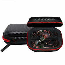 Headphone Earbud Carrying Zipper Storage Bag Pouch Case For Earphone Black+Red