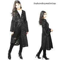 Black Goth Faux Silk Paisley Velvet Sheer Kimono Maxi Long Duster Cardigan 1533
