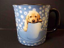 Ceramic coffee mug Keith Kimberlin pup in a cup blue white black interior 10 oz