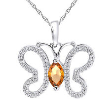 "3/4 Ct D/VVS1 Round and Citrine Sterling Silver Butterfly Necklace 18"" Chain"