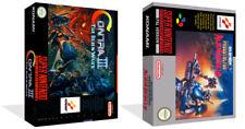 Contra III 3 Snes Ersatz Spiel Hülle Box + für Work (Kein Spiel)