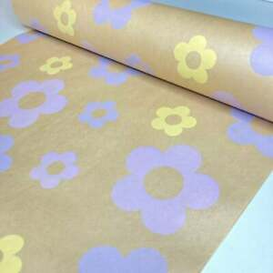 Floral-Kraft Luxury Wrapping Paper-Mother's Day-Baby Gift Wrap-Newborn Baby 5M