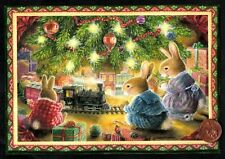 Christmas Susan Wheeler Rabbits Train Tree Lights - Greeting Card W/ Tracking