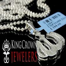 "Real Diamond 10K White Gold Finish Islamic Allah Mini Pendant Charm 1.15"" +Chain"