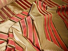 6Y new Kravet Couture woven silk fabric velvet stripes Golden Beige Spice Red