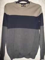 MARKS AND SPENCER SLIM FIT MERINO SILK BLEND NAVY CHARCOAL & TAUPE JUMPER SIZE M