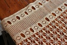 Vintage Creamy Beige Curtain Panel Hand Crocheted 44x78