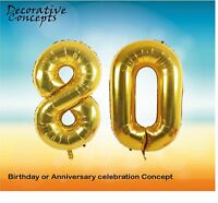 """Giant 80th Birthday Party 40"""" Foil Balloon Helium Air Decoration Age 80 GOLD"""