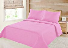 Nena Pink Solid Hypoallergenic Quilt Bedspread Bed Bedding Coverlets Cover