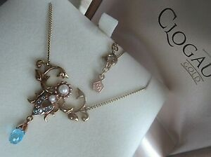 Clogau Welsh 9ct Gold Queen Mother Pendant Necklace Blue Topaz Freshwater Pearl