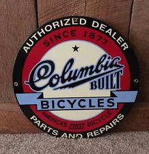 Authorized Dealer Columbia Built Bicycles Parts and Repairs Porcelain Sign USA