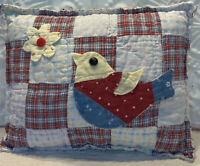 NEW Handmade Patriotic Pillow  Bird  Flower Vintage Quilt Chenille Bedspread