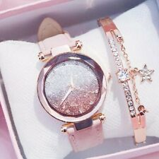 Luxury Ladies Watch Leather Strap Starry Luminous Female Casual Quartz