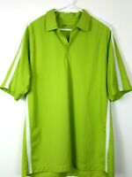 NIKE Golf Fit-Dry button Collared Polo Shirt Men's Large Shirt Green White