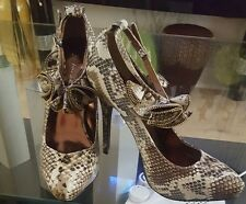 Fione collection ankle strap snake print heels