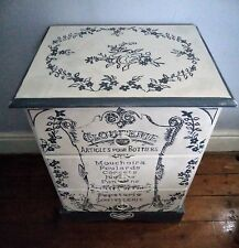 Bespoke bedside drawers with hand painted vintage French typography and flowers