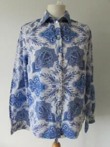 LIBERTY LONDON LINEN LAWN White Blue Paisley Cotton Blouse Shirt Size 14 VGC