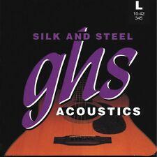 GHS Strings 345 Silk and Steel Light Acoustic Guitar Strings (10-42) +Picks