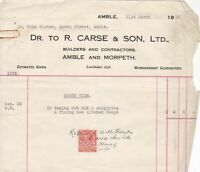 Amble R. Carse & Son Ltd 1933 Builders and Contractors Stamp Receipt Ref 38793