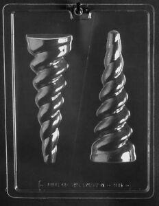 3D LARGE UNICORN HORN CHOCOLATE MOULD 2 SHAPES ON 1 MOULD 18cm LONG