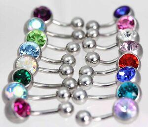 High Polish TITANIUM           Single gem navel / belly  bars/ Crystal Gems