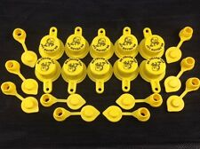 Cap/Vent Pack - 10 BLITZ Yellow Spout Caps & 10 Vents, 20pcs total, NEW - 900094