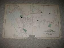 ANTIQUE 1884 MANCHESTER AMESBURY SALISBURY ESSEX COUNTY MASSACHUSETTS HNDCLR MAP