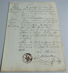 French Taufzeugnis Virneburg 1812 Johannes Keuller (1775 IN Heckenbach)