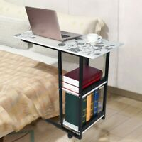 Rolling Laptop Computer Table Standing Sofa Bedside Tray Desk Height Adjustable