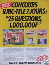 PUBLICITÉ RADIO MONTÉ CARLO CONCOURS RMC TELE 7 JOURS 25 QUESTIONS GAGNER