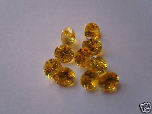 5mm yellow round cut cubic zirconia loose gemstones 2 for £1