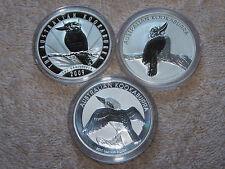 2009-2010-2011 Three 1 OZ AUSTRALIAN SILVER KOOKABURRA COINS BU