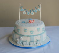 Washing line, bunting christening  cake topper, baby shower personalised name