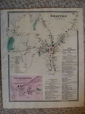 GRAFTON WORCESTER COUNTY MASSACHUSETTS ANTIQUE MAP NR