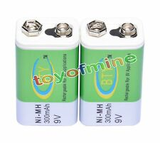 2 x Ni-MH 300mAh 9V Rechargeable PP3 Battery Batteries