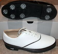 NEW NIKE VERDANA Leather Wingtip GOLF Shoes Cleats Womens 9.5 White $120 NIB NR