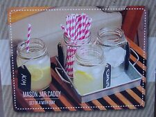 Mason Jar Drinking Glasses w/Metal Tray Set of 4 w/Labels 24oz Clear Glass NEW
