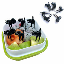6PCS Cute Japanese Black Cat Children Fruit Forks Food Party Bento Pick Cut Y3P3